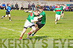 Declan Bambury (Beale) in action with Fiachra Griffin (Churchill) in the Div 4th Credit Union County Senior Football league on Sunday at Churchill GAA Grounds.