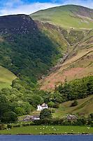 Hill farm on mountain slopes at Tal-Y-LLyn, Snowdonia, Gwynned, Wales