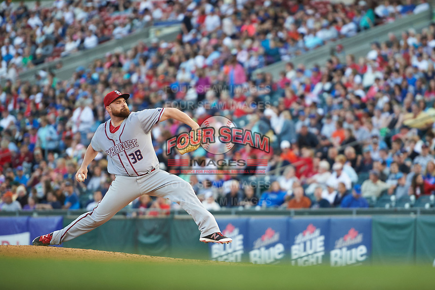 Syracuse Chiefs relief pitcher Sean O'Sullivan (38) delivers a pitch during a game against the Buffalo Bisons on July 3, 2017 at Coca-Cola Field in Buffalo, New York.  Buffalo defeated Syracuse 6-2.  (Mike Janes/Four Seam Images)
