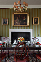 An early 19th century group portrait hangs above the dining room fireplace