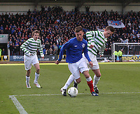 Ryan Sinnamon being challenged by Liam Henderson in the Celtic v Rangers City of Glasgow Cup Final match played at Firhill Stadium, Glasgow on 29.4.13,  organised by the Glasgow Football Association and sponsored by City Refrigeration Holdings Ltd.