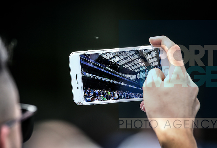 A Chelsea fan takes a selfie during the Premier League match at Stamford Bridge Stadium, London. Picture date: May 18th, 2017. Pic credit should read: David Klein/Sportimage