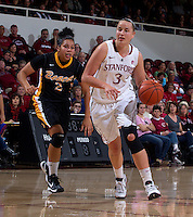 Long Beach States Bianka Balthazar, guards Stanford's Mikaela Ruef, during Saturday, November 25, 2012 game at Stanford. Stanford won 77-41.
