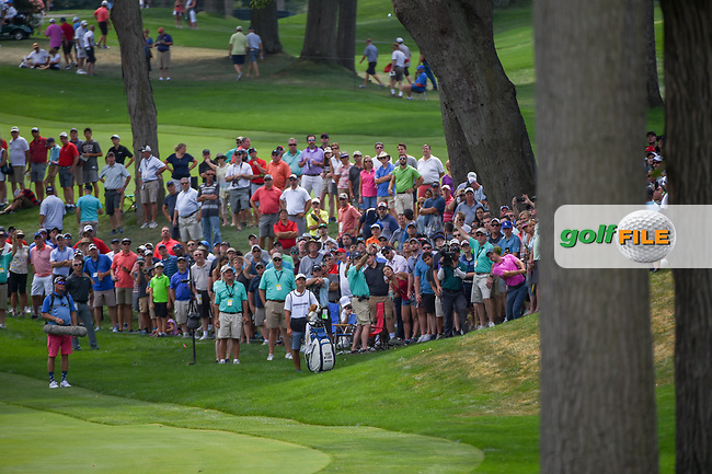 Rory McIlroy (NIR) hits his approach shot on 3 during 2nd round of the World Golf Championships - Bridgestone Invitational, at the Firestone Country Club, Akron, Ohio. 8/3/2018.<br /> Picture: Golffile | Ken Murray<br /> <br /> <br /> All photo usage must carry mandatory copyright credit (© Golffile | Ken Murray)