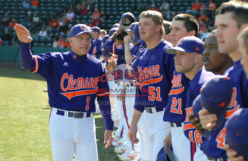 Head coach Jack Leggett (7) of the Clemson Tigers in a game against the Michigan State Spartans Saturday, Feb. 20, 2010, at Fluor Field at the West End in Greenville, S.C. Photo by: Tom Priddy/Four Seam Images