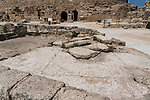A mosaic tile floor from a ruined building in front of the Herod's Theater at Caesarea Maritima in Caesarea National Park in Israel.  The city was built as a port on the Mediterranean Sea by Herod the Great between 22 and 15 B.C.
