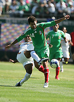 David Solorzano (left) tries to stop Miguel Sabah (14). Mexico defeated Nicaragua 2-0 during the First Round of the 2009 CONCACAF Gold Cup at the Oakland, Coliseum in Oakland, California on July 5, 2009.