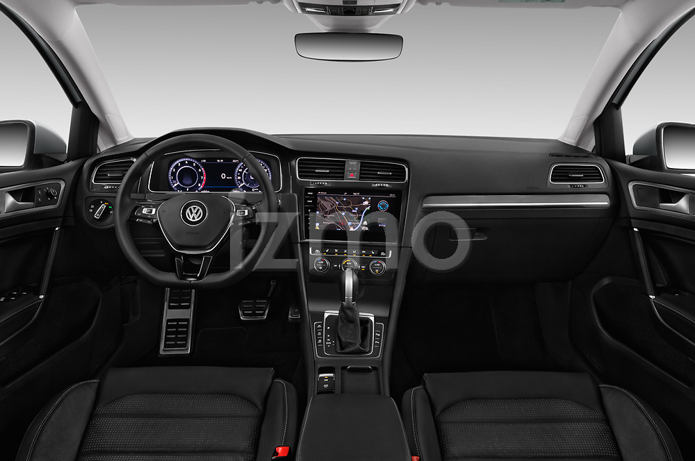 Stock photo of straight dashboard view of 2017 Volkswagen Golf Alltrack Base 5 Door Wagon