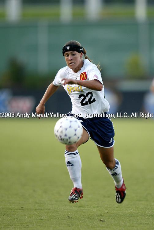 19 July 2003: Allie Kemp-Sullivan. The Carolina Courage defeated the San Diego Spirit 1-0 at SAS Stadium in Cary, NC in a regular season WUSA game.