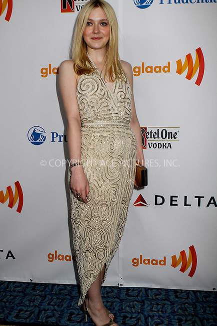 WWW.ACEPIXS.COM . . . . .  ....March 24 2012, New York City....Dakota Fanning attends the 23rd Annual GLAAD Media Awards at the Marriot Marquis Hotel on March 24, 2012 in New York City....Please byline: NANCY RIVERA- ACEPIXS.COM.... *** ***..Ace Pictures, Inc:  ..Tel: 646 769 0430..e-mail: info@acepixs.com..web: http://www.acepixs.com