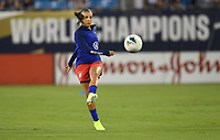 CHARLOTTE, NC - OCTOBER 03: Mallory Pugh #2 of the United States warms up prior to their game versus Korea Republic at Bank of American Stadium, on October 03, 2019 in Charlotte, NC.