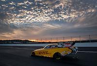 Feb 8, 2014; Pomona, CA, USA; NHRA funny car driver Del Worsham during qualifying for the Winternationals at Auto Club Raceway at Pomona. Mandatory Credit: Mark J. Rebilas-