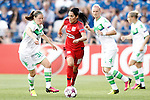 VfL Wolfsburg's Elise Bussaglia (l) and Alexandra Popp (r) and Olympique Lyonnais's Louisa Necib during UEFA Women's Champions League 2015/2016 Final match.May 26,2016. (ALTERPHOTOS/Acero)
