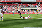 01.08.2015. Cologne, Germany. Pre Season Tournament. Colonia Cup. FC Cologne versus Stoke City.  First half. Cologne defender Dominique Heintz does enough to put Steve Sidwell off, causing his shot to sail over the bar.