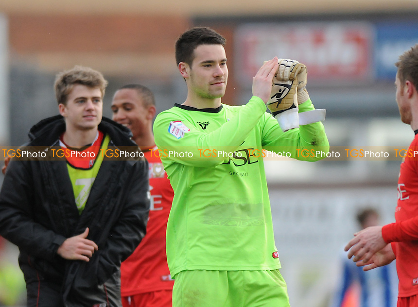 MK Dons goalkeeper Ian McLoughlin applauds travelling fans after the final whistle - Hartlepool United vs MK Dons - NPower League One Football at Victoria Park, Hartlepool - 29/03/13 - MANDATORY CREDIT: Steven White/TGSPHOTO - Self billing applies where appropriate - 0845 094 6026 - contact@tgsphoto.co.uk - NO UNPAID USE