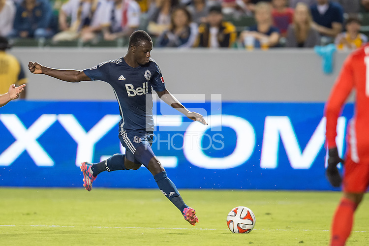 CARSON, CA - August 23, 2014: LA Galaxy vs Vancouver Whitecaps match at the StubHub Center in Carson, California. Final score, LA Galaxy 2, Vancouver Whitecaps 0.