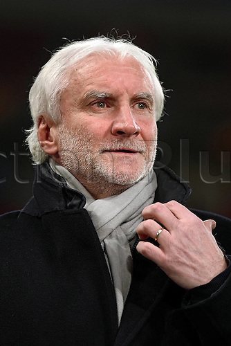 25.02.2016. Leverkusen, Germany. UEFA Europa League football. Bayer Leverkusen versus Sporting Lisbon.  Sporting director Rudi Voeller (Bayer 04 Leverkusen)