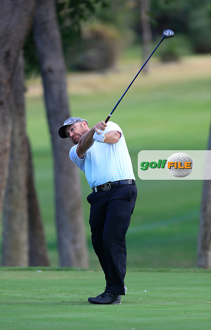 David Brandsdon (AUS) on the 2nd tee during Round 1 of the ISPS HANDA Perth International at the Lake Karrinyup Country Club on Thursday 23rd October 2014.<br /> Picture:  Thos Caffrey / www.golffile.ie