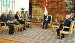 Egyptian President Abdel Fattah el-Sisi meets with members of the British House of Lords at the presidential palace in Cairo on October 1, 2015. Photo by Egyptian President Office