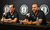 Brooklyn Nets General Manager Sean Marks, right, and Coach Kenny Atkinson laugh as they speak with the media at HSS Training Center in Brooklyn, NY on Tuesday, Sept. 18, 2018.