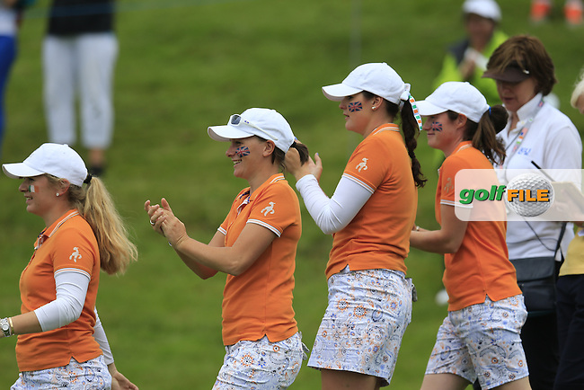 Meghan MacLaren and Maria Dunne during the Saturday morning foursomes at the 2016 Curtis cup from Dun Laoghaire Golf Club, Ballyman Rd, Enniskerry, Co. Wicklow, Ireland. 11/06/2016.<br /> Picture Fran Caffrey / Golffile.ie<br /> <br /> All photo usage must carry mandatory copyright credit (&copy; Golffile | Fran Caffrey)