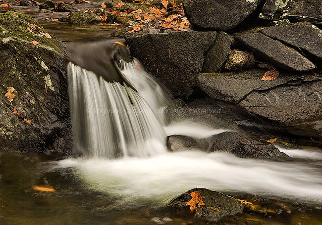 A pretty cascade in the West Brook of Conway, Massachusetts.