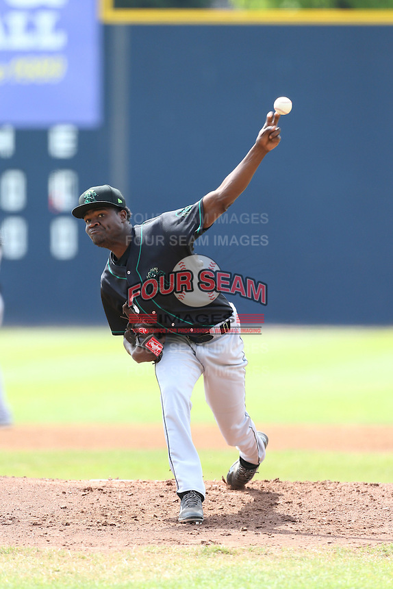 Jose Paulino (43) of the Eugene Emeralds pitches during a game against the Vancouver Canadians at Nat Bailey Stadium on July 22, 2015 in Vancouver, British Columbia. Vancouver defeated Eugene, 4-2. (Larry Goren/Four Seam Images)