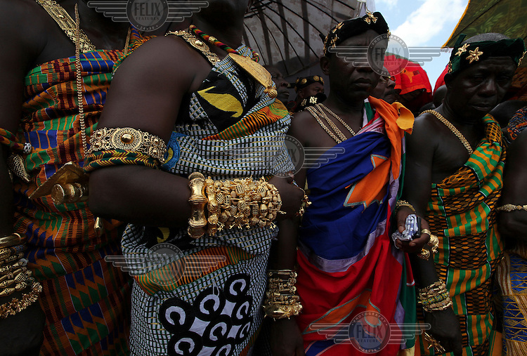 Local chiefs and people gather to celebrate the 10th anniversary of the enstoolment of the Asantehene Otumfuo Nana Osei Tutu II in Kumasi.