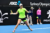 10th January 2018, Sydney Olympic Park Tennis Centre, Sydney, Australia; Sydney International Tennis, round 2; Kiki Bertens (NED) in her match against Gabrine Muguruza (ESP)