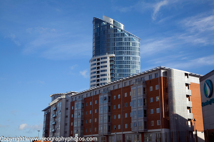 Modern apartment blocks near historic waterfront, Portsmouth, hampshire, England