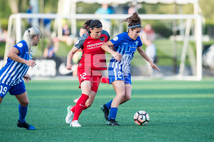 Boston, MA - Friday May 19, 2017: Christine Sinclair and Angela Salem during a regular season National Women's Soccer League (NWSL) match between the Boston Breakers and the Portland Thorns FC at Jordan Field.