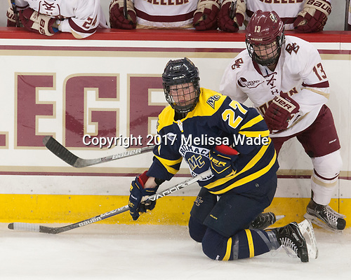 Allison Sexton (Merrimack - 27), Haley McLean (BC - 13) - The number one seeded Boston College Eagles defeated the eight seeded Merrimack College Warriors 1-0 to sweep their Hockey East quarterfinal series on Friday, February 24, 2017, at Kelley Rink in Conte Forum in Chestnut Hill, Massachusetts.The number one seeded Boston College Eagles defeated the eight seeded Merrimack College Warriors 1-0 to sweep their Hockey East quarterfinal series on Friday, February 24, 2017, at Kelley Rink in Conte Forum in Chestnut Hill, Massachusetts.