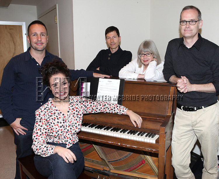 Alexandra Siber with Kenneth Gartman, Victor Lodato, Polly Pen and Jack Cummings III rehearsing for  'Arlington' part of  'Inner Voices' A Trilogy about Intimate Explorations of Courage, Loss and Acceptance at the MTC Studios on 10/23/2012 in New York City.