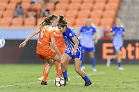 Houston, TX - Wednesday June 28, 2017: Angela Salem attempts to dribble the ball around Janine Beckie during a regular season National Women's Soccer League (NWSL) match between the Houston Dash and the Boston Breakers at BBVA Compass Stadium.