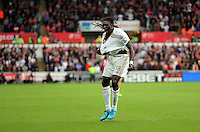 Pictured: Bafetimbi Gomis of Swansea celebrates his goal, making the score 2-1 to his team Sunday 30 August 2015<br /> Re: Premier League, Swansea v Manchester United at the Liberty Stadium, Swansea, UK