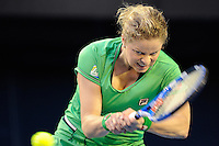 MELBOURNE, 29 JANUARY - Kim Clijsters (BEL) in action during women's final match against Na Li (CHN) on day thirteen of the 2011 Australian Open at Melbourne Park, Australia. (Photo Sydney Low / syd-low.com)
