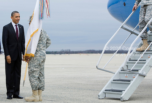 United States President Barack Obama participates in a ceremony marking the end of the war in Iraq and the return of the United States Forces-Iraq Colors at Joint Base Andrews in Camp Springs, Maryland on Tuesday, December 20, 2011.  The last remaining U.S. troops left Iraq on December 18, 2011 officially ending the nearly nine year war. .Credit: Kristoffer Tripplaar  / Pool via CNP