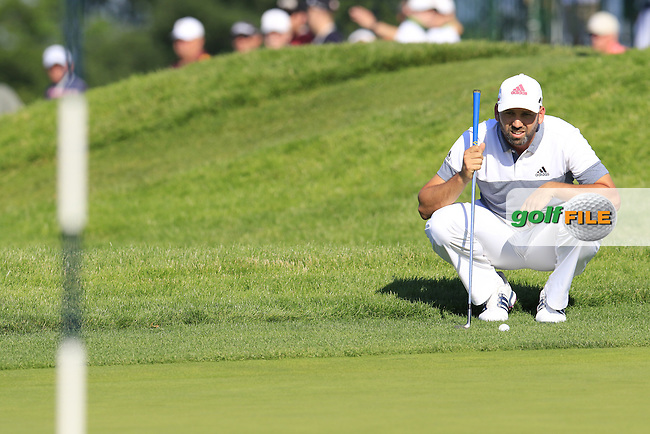 Sergio Garcia (ESP) on the 18th green during Friday's Round 2 of the 2016 U.S. Open Championship held at Oakmont Country Club, Oakmont, Pittsburgh, Pennsylvania, United States of America. 17th June 2016.<br /> Picture: Eoin Clarke | Golffile<br /> <br /> <br /> All photos usage must carry mandatory copyright credit (&copy; Golffile | Eoin Clarke)