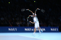 A multiple exposure shot of Marin Cilic of Croatia during his round robin match against Novak Djokovic of Serbia <br /> <br /> Photographer Rob Newell/CameraSport<br /> <br /> International Tennis - Nitto ATP World Tour Finals Day 6 - O2 Arena - London - Friday 16th November 2018<br /> <br /> World Copyright &copy; 2018 CameraSport. All rights reserved. 43 Linden Ave. Countesthorpe. Leicester. England. LE8 5PG - Tel: +44 (0) 116 277 4147 - admin@camerasport.com - www.camerasport.com
