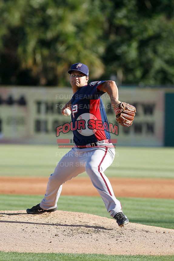 Potomac Nationals pitcher Tyler Mapes (22) pitching during a game against the Myrtle Beach Pelicans at Ticketreturn.com Field at Pelicans Ballpark on May 23, 2015 in Myrtle Beach, South Carolina.  Myrtle Beach defeated Potomac 7-3. (Robert Gurganus/Four Seam Images)