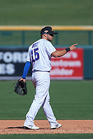 Mesa Solar Sox second baseman David Bote (15), of the Chicago Cubs organization, during an Arizona Fall League game against the Peoria Javelinas on October 25, 2017 at Sloan Park in Mesa, Arizona. The Solar Sox defeated the Javelinas 6-3. (Zachary Lucy/Four Seam Images)