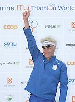 03 SEP 2006 - LAUSANNE, SWITZERLAND - Will Clarke (GBR) celebrates winning the under 23 Mens World Triathlon Championships. (PHOTO (C) NIGEL FARROW)