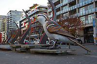 Giant sparrow sculpture entitled The Birds by Myfanwy Macleod in the plaza at the former Olympic village, Vancouver, BC, Canada