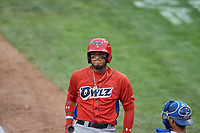 Kevin Maitan (9) of the Orem Owlz during a game against the Ogden Raptors at Lindquist Field on August 4, 2018 in Ogden, Utah. The Owlz defeated the Raptors 15-12. (Stephen Smith/Four Seam Images)
