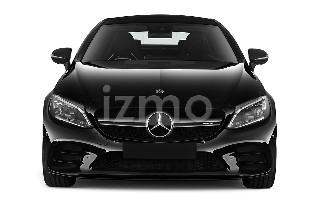 Car photography straight front view of a 2020 Mercedes Benz C class 43-AMG 2 Door Coupe