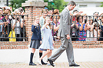 King Felipe VI, Princess Leonor, Princess Sofia and Queen Letizia after the First Communion of princess Sofia at Asuncion de Nuestra Senora Church in Madrid, May 17, 2017. Spain.<br /> (ALTERPHOTOS/BorjaB.Hojas)