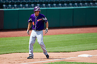 Kevin Kaczmarski (4) of the Evansville Purple Aces leads off of third base during a game against the Missouri State Bears at Hammons Field on May 12, 2012 in Springfield, Missouri. (David Welker/Four Seam Images)