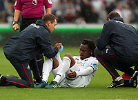 Renato Sanches of Swansea City (C) is helped on to his feat by medical staff Ritson Lloyd (L) and Jez McCluskey during the Premier League match between Swansea City and Newcastle United at The Liberty Stadium, Swansea, Wales, UK. Sunday 10 September 2017
