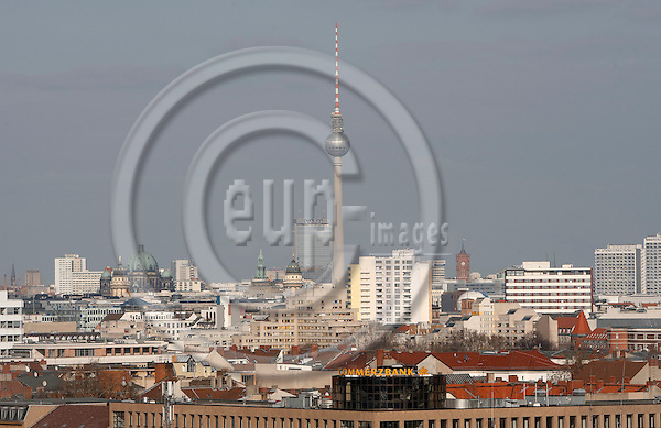 """BERLIN - GERMANY 15. MARCH 2007 -- View over Berlin, TV-Tower at Alexander Platz, from the high house """"Pallaseum"""", earlier Sozialpalast (Social palace), an enourmous building in the middle of Berlin-Schoeneberg -- PHOTO: CHRISTIAN T. JOERGENSEN / EUP & IMAGES....This image is delivered according to terms set out in """"Terms - Prices & Terms"""". (Please see www.eup-images.com for more details)"""
