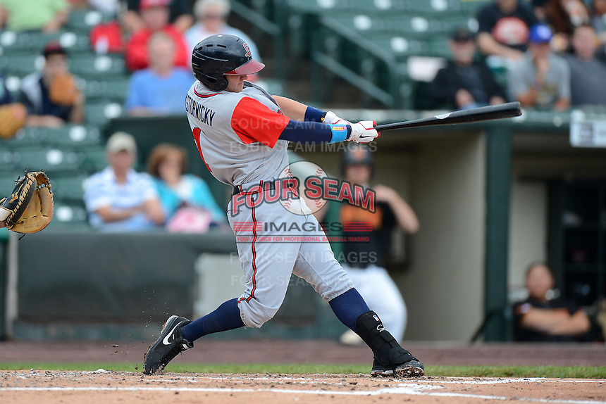 Gwinnett Braves second baseman Tyler Pastornicky #1 during a game against the Rochester Red Wings on June 16, 2013 at Frontier Field in Rochester, New York.  Rochester defeated Gwinnett 6-3.  (Mike Janes/Four Seam Images)